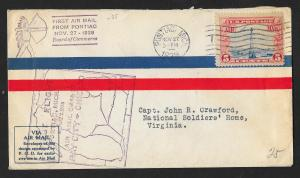 UNITED STATES First Flight Cover 1928 Pontiac to Detroit
