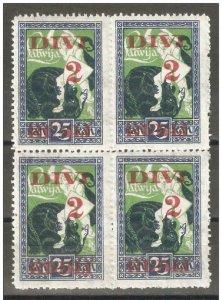 Latvia 1920-21,Surcharged 2R on 25k Block Scott # 93,VF MNH**OG