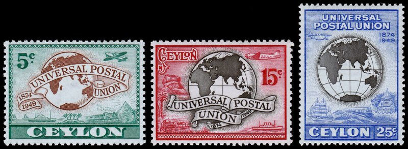 Ceylon Scott 304-306 (1949) Mint LH VF Complete Set, CV $3.35 C
