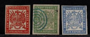 $Transvaal Sc#4-6 used+M/F-VF, complete set, 5 no gum, 6 used, Cv. $560