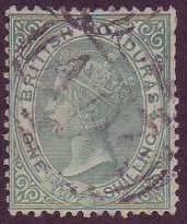 British Honduras SC#3 (SG# 4) Victoria 1sh Perf 14 Used