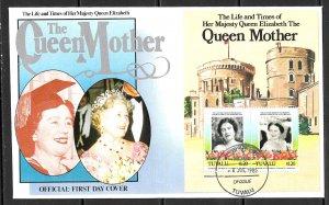 TUVALU 1985 Queen Mother's 85th Birthday Souvenir Sheet Sc 315 Cachet FDC