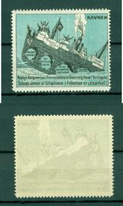 Denmark. Poster Stamp MNH +_ 1915. Ship  Ravnen. Political Trade Protest.