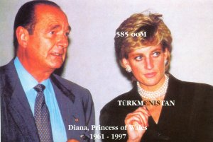 Turkmenistan 1997 PRINCESS DIANA & FRENCH PRESIDENT CHIRAC ss Imperforated MNHVF