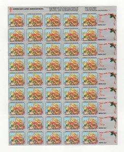 Cinderella TB Christmas Stamps 1994 USA Sheet of 36 Seals + 9 Labels MNH