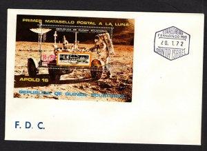 Equatorial Guinea  #7210 (1972 Apollo 15 200+25e perforate sheet)  FDC