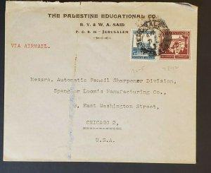 1939 Jerusalem Palestine to Chicago Pencil Sharpener Advertising Airmail Cover