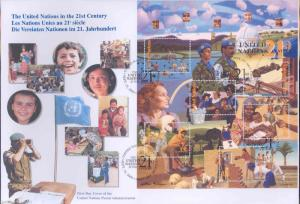 UNITED NATIONS  2000 UN IN THE 21st CENTURY SET OF 3  FIRST DAY COVERS  AS SHOWN