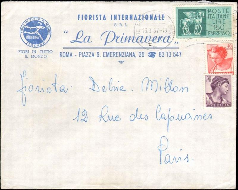 1967 ITALY MULTI STAMP EXPRESS STAMP USAGE TO FRANCE