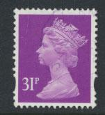 GB QE II Machin - SG Y1695   Used  31p  lighter shade of Deep mauve