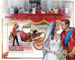 Togo 2011 PRINCE WILLIAM & KATE ROYAL WEDDING s/s Perforated Mint (NH)