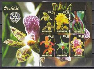 Gambia, 2003 Cinderella issue. Orchids sheet of 6.  Rotary logo
