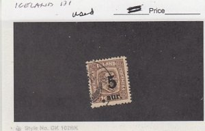 J25788  jlstamps 1921-5 iceland  used #131 ovpt checked for condition