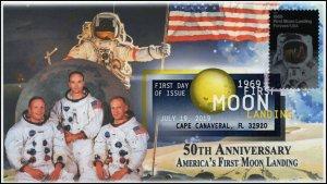 19-137, 2019, Moon Landing  Apollo 11, Digital Color Postmark, FDC, Cape Canaver