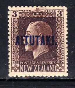 Aitutaki 1918 – 20 KGV 3d Chocolate MM Ovpt SG 16a  ( F16 )
