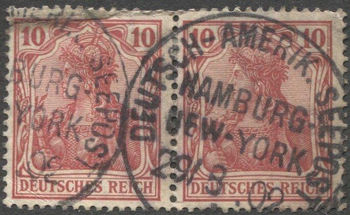 GERMANY 1902 10pf Used pair, Sc 68 VF, DEUTSCH-AMERIK. SEEPOST 1902 cancel