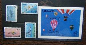 Grenada 1983 Bicentenary of Manned Flight set &  Miniature sheet MNH