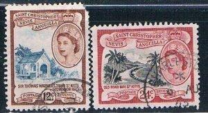 St Kitts Nevis & Anguilla 128-29 Used set clipped corner QEII 1954 (HV0409)+