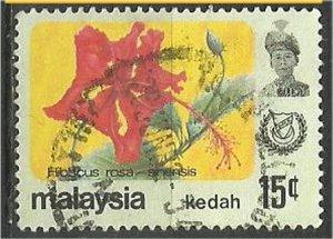KEDAH, 1979, used 15c, Flowers. Scott 124