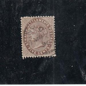 STRAIT SETTLEMENTS # 38  VF-USED 5cts QUEEN VICTORIA / VIOLET BROWN CAT VAL $140