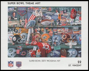 ST. VINCENT 1991. SCOTT # 1449. SOUVENIR SHEET. SUPER BOWL PROGRAM COVER.