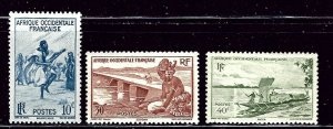 French West Africa 36-38 MH 1947 issues    (ap2755)