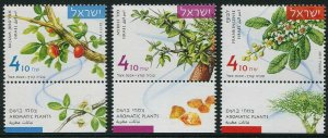 HERRICKSTAMP NEW ISSUES ISRAEL Sc.# 2132-34 Aromatic Plants Tabbed