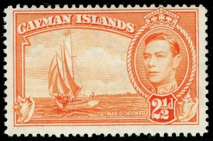 CAYMAN ISLANDS SG120a, 2½d orange, LH MINT.