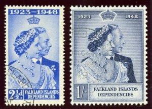 Falkland Islands Deps 1948 KGVI Silver Wedding set complete VFU. SG G19-G20.