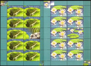 Bosnia 2008 Flora & Fauna Frogs Flowers Water Lily 2 sheets of 9 MNH