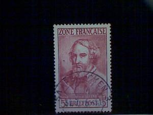 Germany (FrOccZone), Scott #4N13, used(o), HeinrichHeine, 5mks, red brown