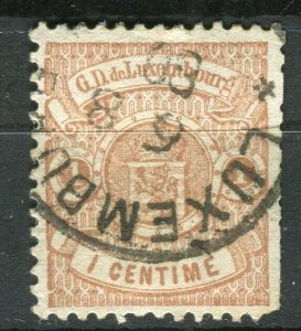 LUXEMBOURG; 1860s early classic Imperf issue fine used 1c. value