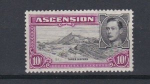ASCENSION  1938  S G 47  10/- BLACK  &  BRIGHT PURPLE  PERF 131/2 MNH CAT £110
