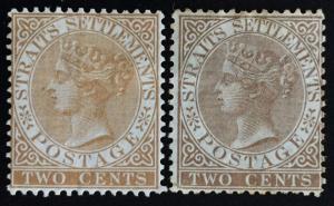 Malaya Straits Settlements 1867 QV 2c CrownCC Mint NG SG#11a&11b CV£225 MH1812