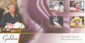 Norfolk Island 2002 FDC Sc #758-761 50th Anniversary Reign of Queen Elizabeth II