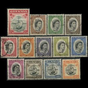 GRENADA 1953 - Scott# 171-83 Queen Birthday Set of 13 Used