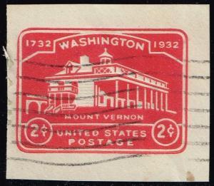 US #U525 Mount Vernon; Used Cut Square (0.25)