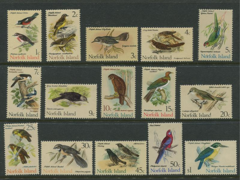 Norfolk Is - Scott 126-140 - Birds General Issue -1970 - MNH - Set of 15  Stamps