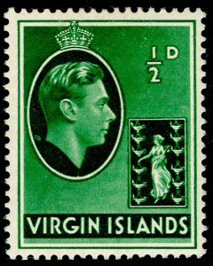 BRITISH VIRGIN ISLANDS SG110, ½d green, LH MINT. CHALKY