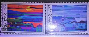 collectibles postage stamps from the faroes Islands 87 Paintings of Torshavn