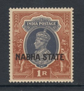 India, Nabha Sc 81 MNH. 1938 1r brown & slate KGVI, fresh, bright, F-VF.