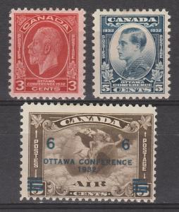 CANADA 1932 KGV OTTAWA CONFERENCE 3C 5C AND AIRMAIL6/5C
