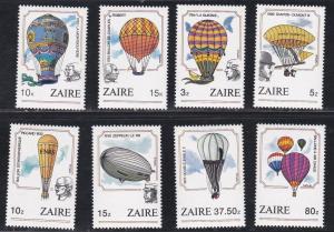 Zaire # 1160-1167, Hot Air Balloons, NH