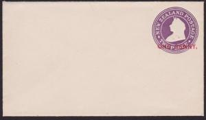 NEW ZEALAND QV 2d envelope overprinted ONE PENNY in red - very scarce.......5250