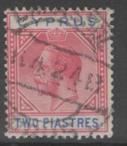 CYPRUS SG93 1922 2pi CARMINE & BLUE USED
