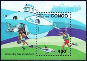 Brazzaville. 1993. bl112. Dolphin deep-sea underwater vehicle. MNH.