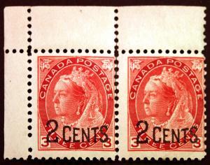 Canada #88 2c 0n #78 3c Carmine 1899 Corner Margin Pair *MNH*