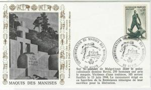 France WW2 Liberation Maquis Des Manises 08 Revin Cancel Stamps Cover R 19230