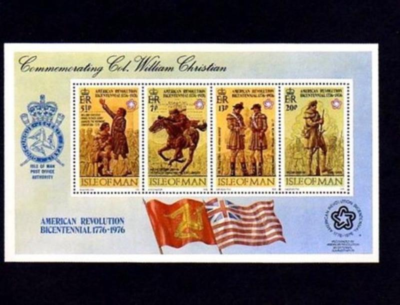 ISLE OF MAN - 1976 - AMERICAN BICENTENNIAL - WILLIAM CHRISTIAN - MINT S/SHEET!