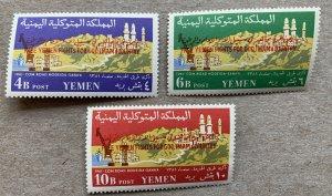 Yemen Kingdom 1962 Hodaida Road Free Yemen ovpts, MNH. Mi 21-23, CV €32.00
